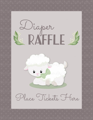 Diaper Raffle Tickets - PRINTABLE DOWNLOAD - Lamb Baby Shower Invitation Inserts - B39001