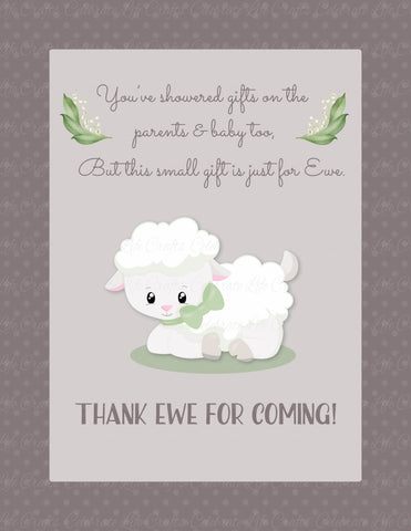 Thank You Favor Sign - PRINTABLE DOWNLOAD - Lamb Baby Shower Decorations - B39001