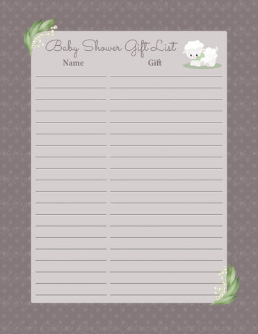 Baby Shower Gift List Set - PRINTABLE DOWNLOAD - Lamb Baby Shower Decorations - B39001