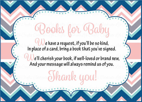 Books for Baby Cards - Printable Download - Pink Navy Chevrons Baby Shower Invitation Inserts - Pink Navy Chevrons - B4005