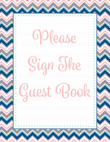 Baby Shower Guest List Set - Printable Download - Pink Navy Chevrons Baby Shower Decorations - B4005