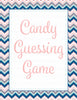 Candy Guessing Game - Printable Download - Pink Navy Chevrons Baby Shower Game - B4005