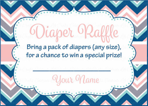 Diaper Raffle Tickets - Printable Download - Pink Navy Chevrons Baby Shower Invitation Inserts - B4005