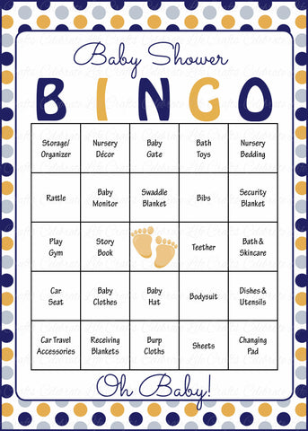 Oh Baby! Bingo Cards - Printable Download - Prefilled - Baby Shower Game for Boy - Navy Gold Polka Dots - B4007