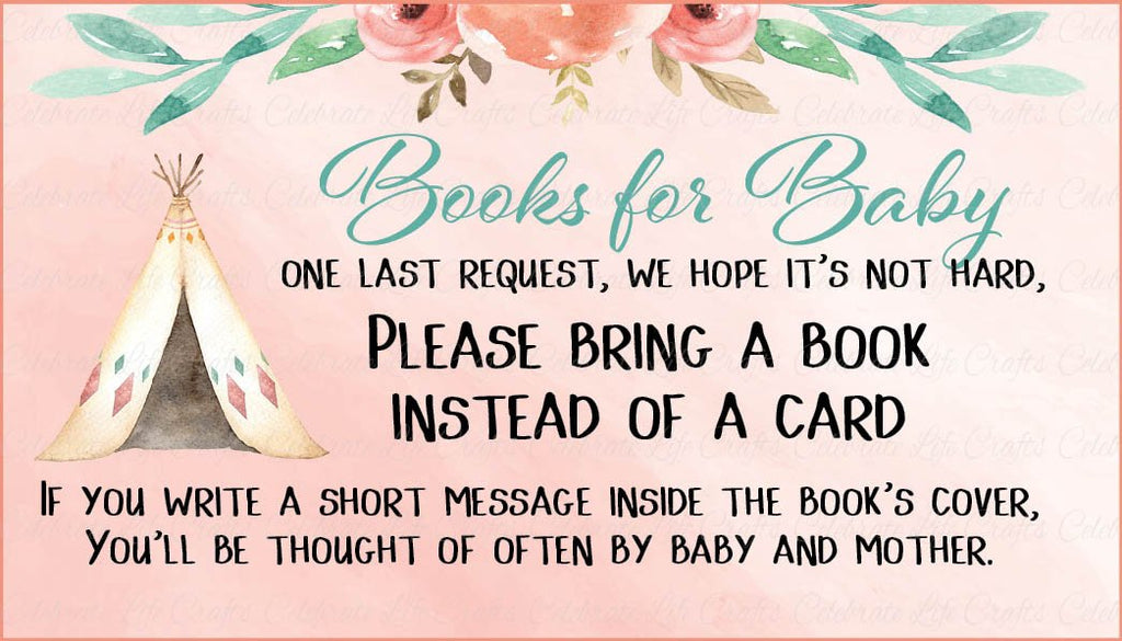 Boho Baby Shower Books for Baby Cards