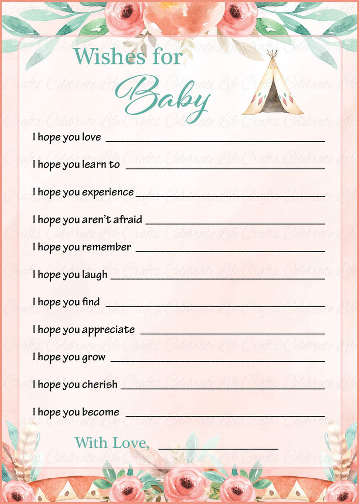 Boho Baby Shower Wishes for Baby