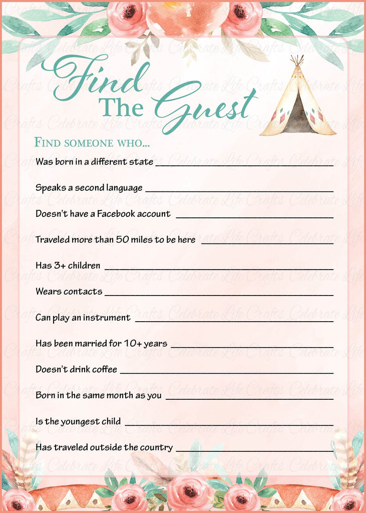 Boho Baby Shower Find The Guest Game