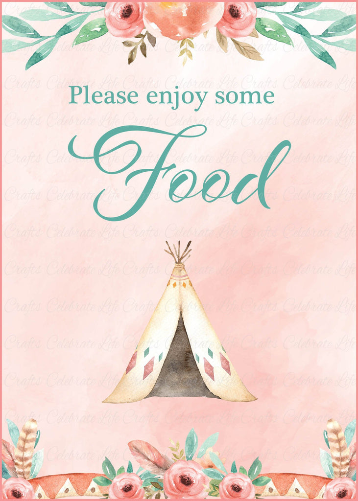 Boho Baby Shower Food Sign