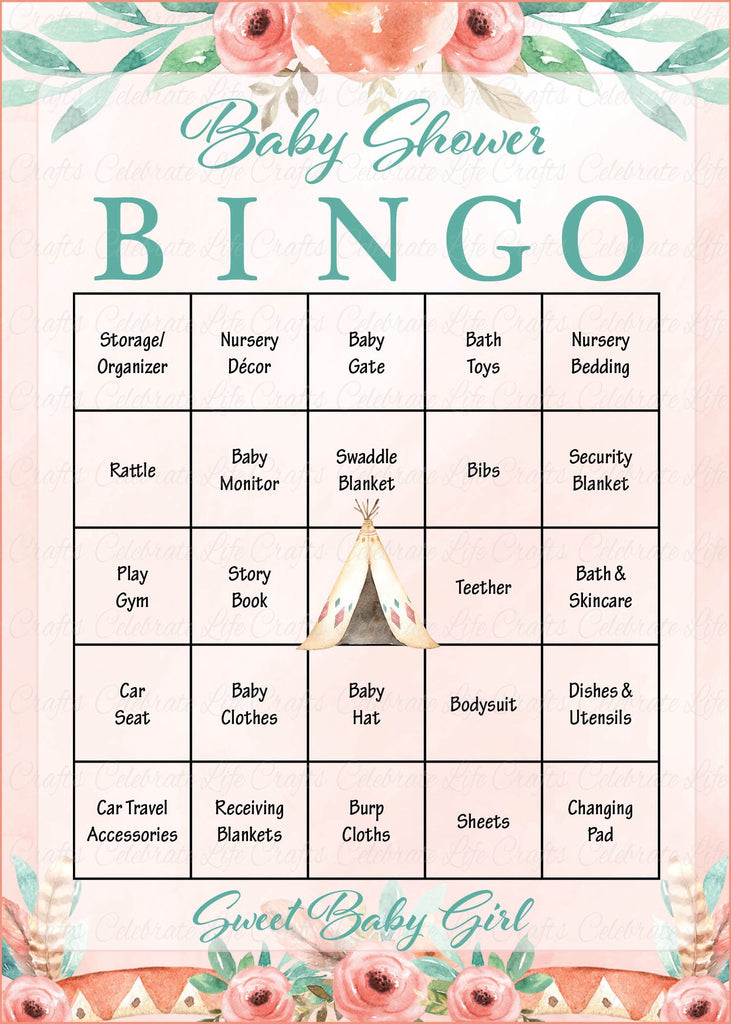 Boho Baby Shower Bingo Cards