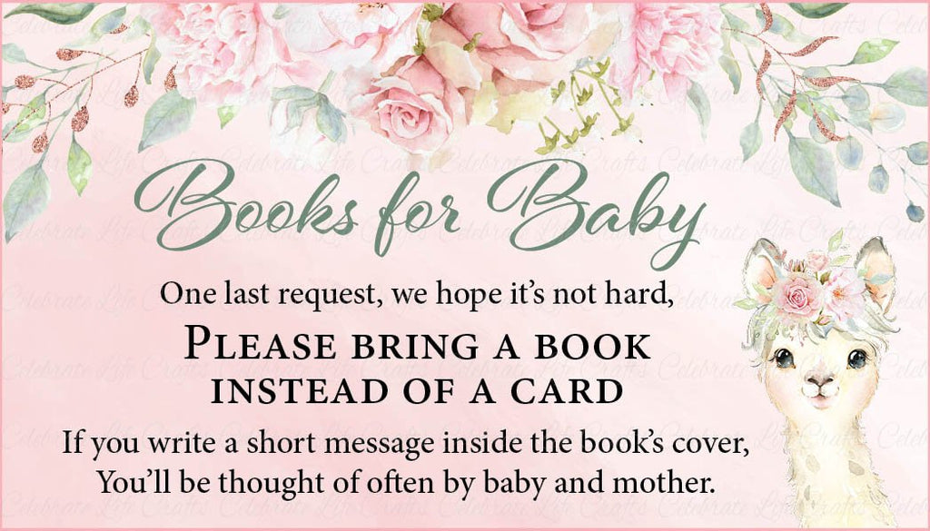 Llama Baby Shower Books for Baby Cards