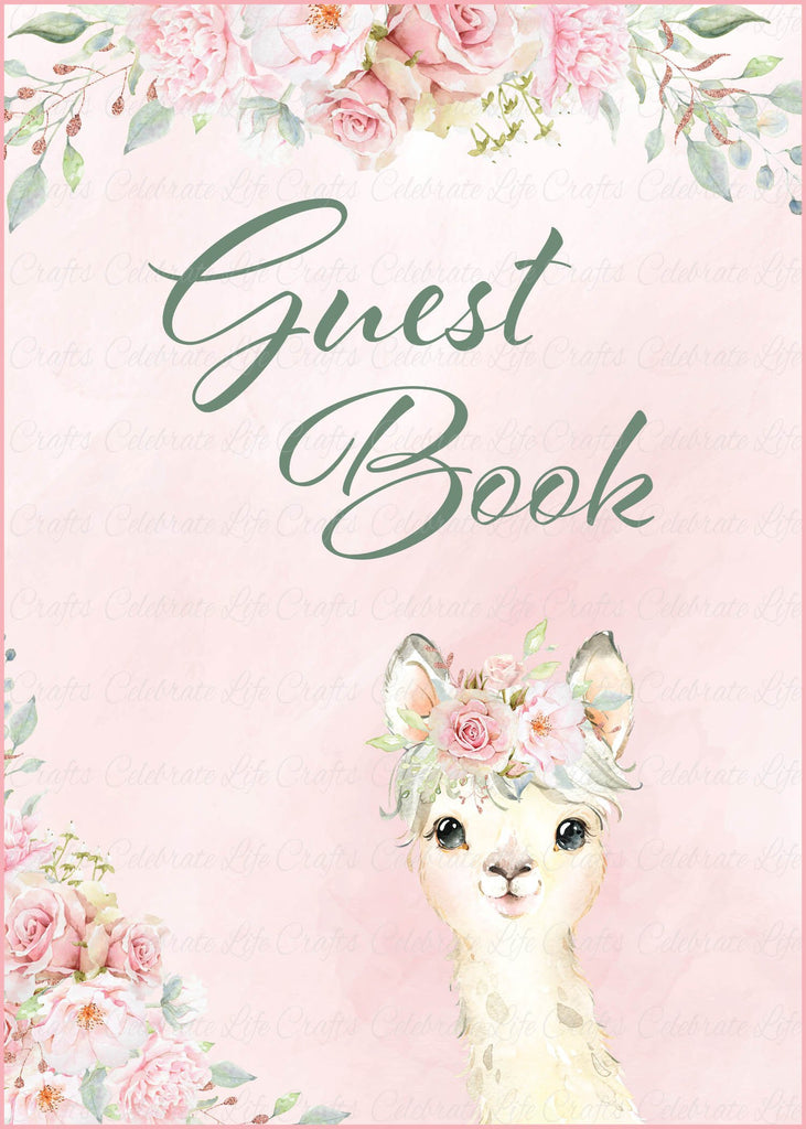 Llama Baby Shower Guest Book Sign