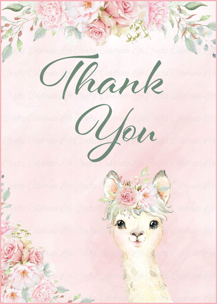 Llama Baby Shower Thank You Sign
