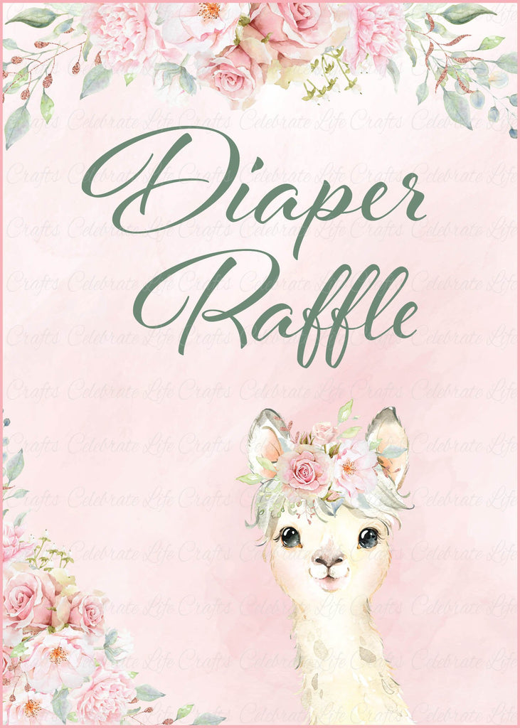 Llama Baby Shower Diaper Raffle Sign