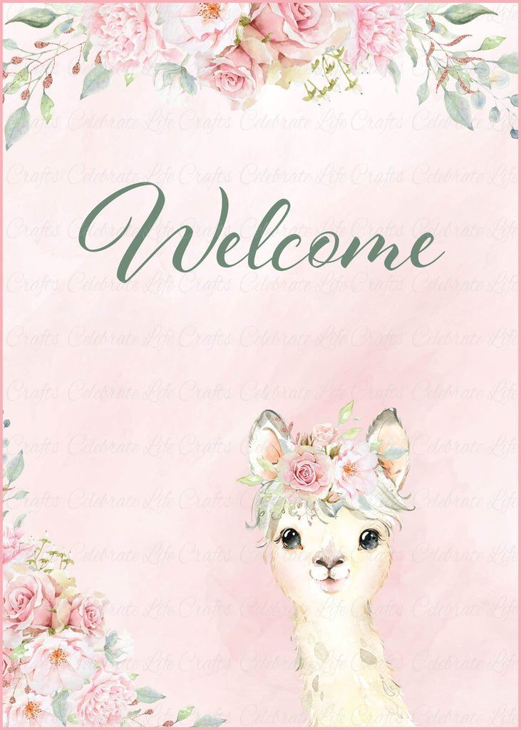 Llama Baby Shower Welcome Sign