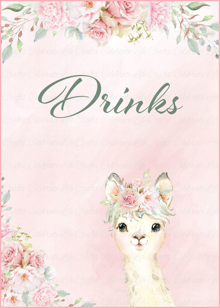 Llama Baby Shower Drinks Sign