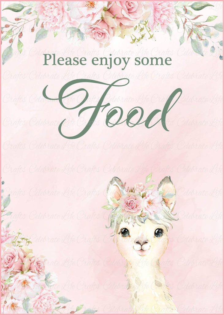Llama Baby Shower Food Sign