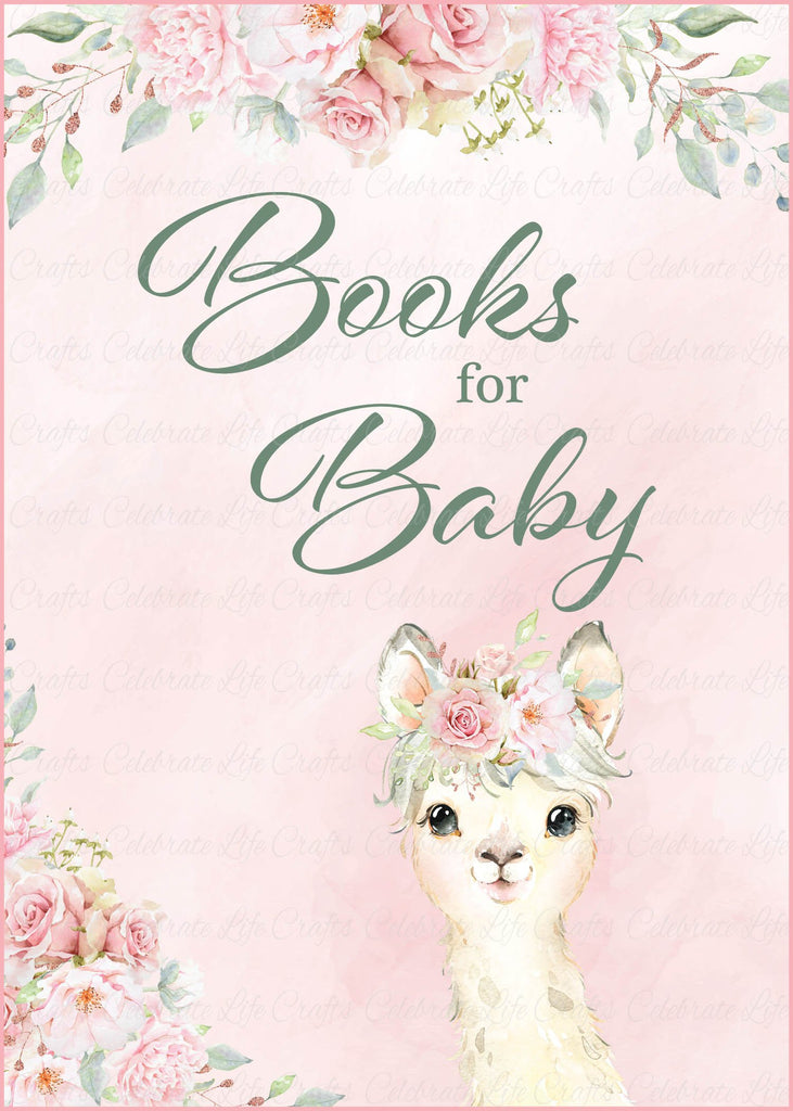 Llama Baby Shower Books for Baby Sign