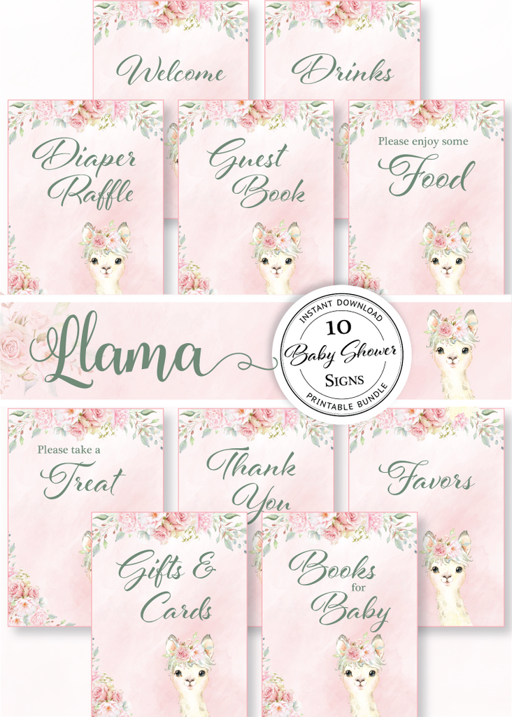 Llama Baby Shower Signs Bundle