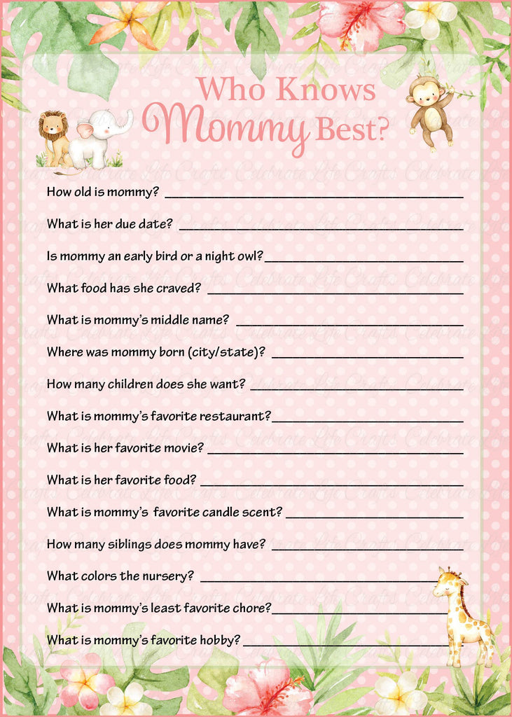 Pink Safari Baby Shower Who Knows Mommy Best Game