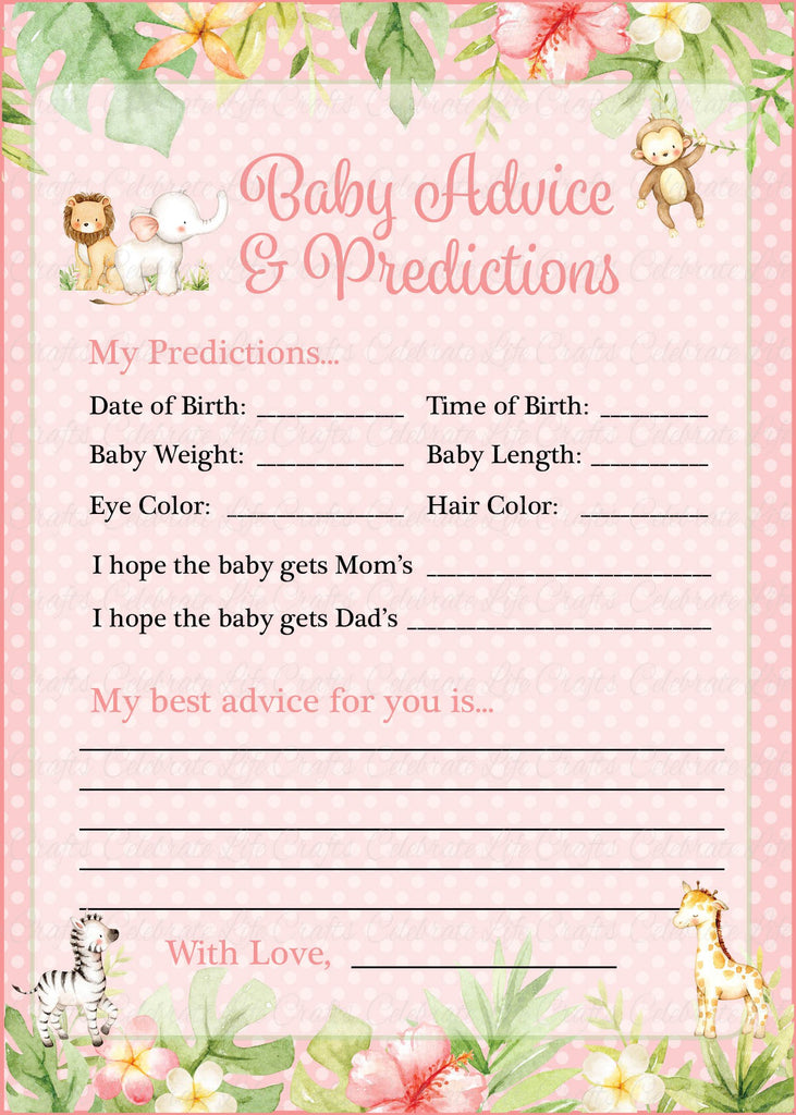 Pink Safari Baby Shower Prediction and Advice Cards