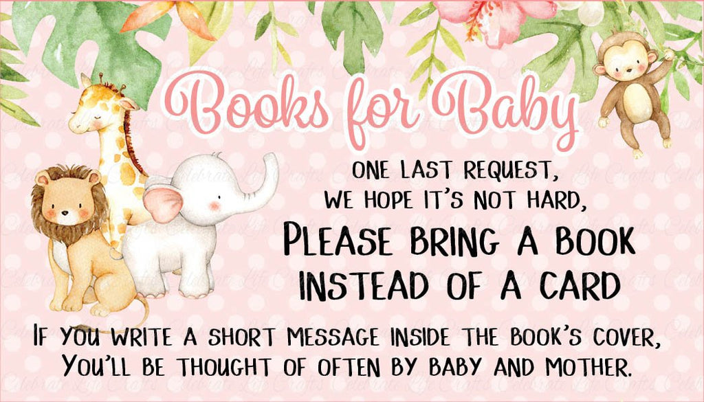 Pink Safari Baby Shower Books for Baby Cards