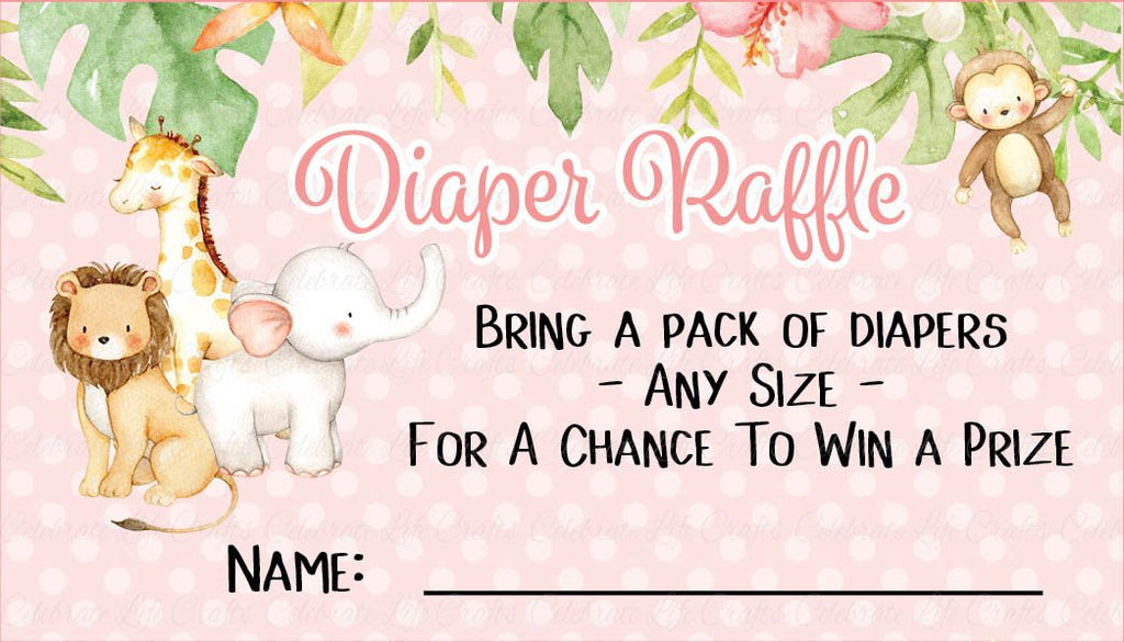 Pink Safari Baby Shower Diaper Raffle Cards