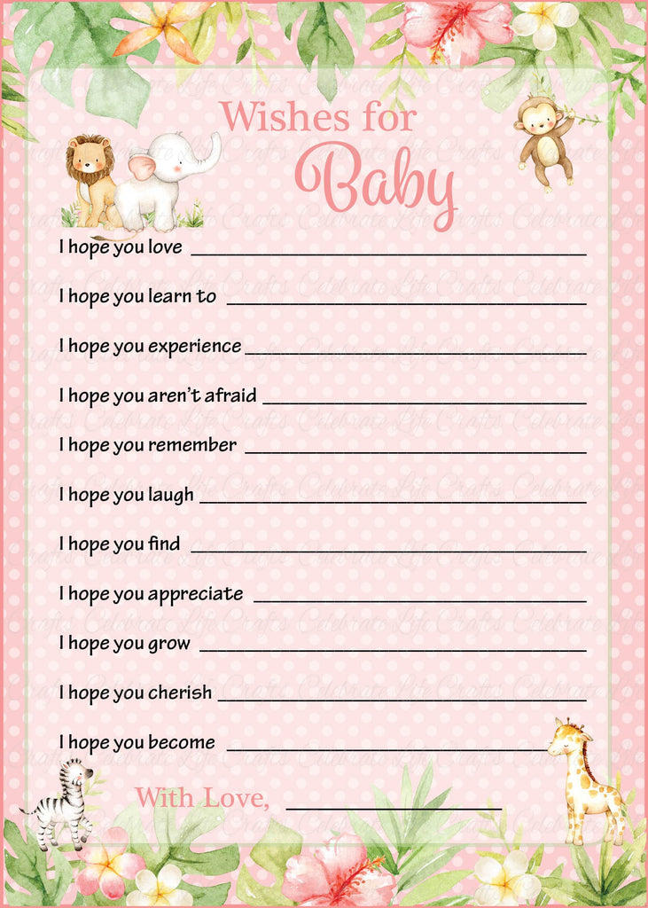 Pink Safari Baby Shower Wishes for Baby