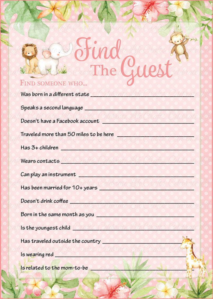Pink Safari Baby Shower Find The Guest Game