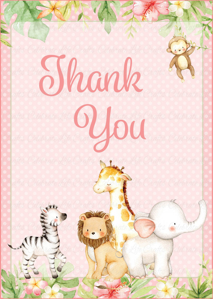 Pink Safari Baby Shower Thank You Sign