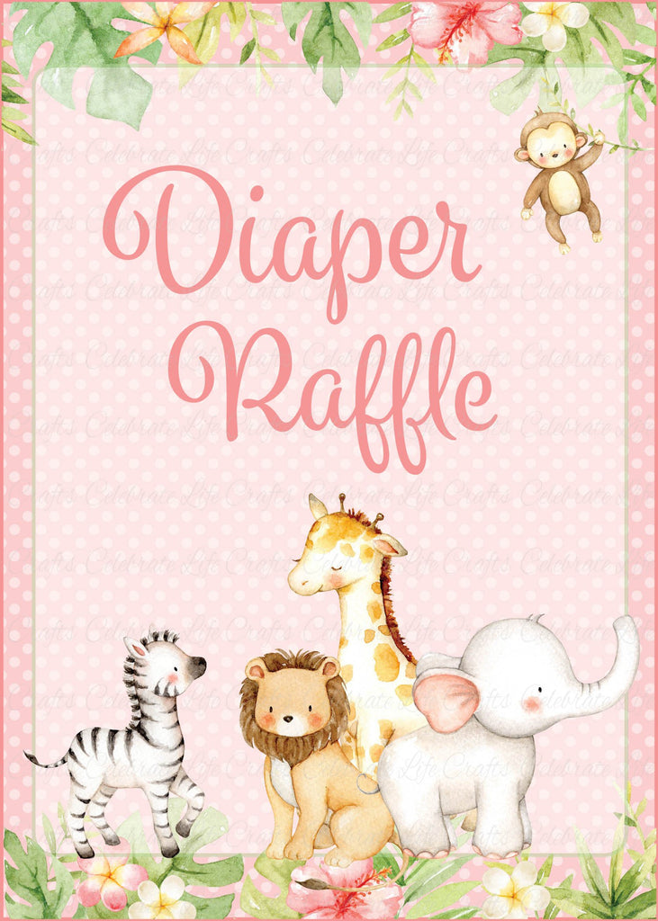 Pink Safari Baby Shower Diaper Raffle Sign