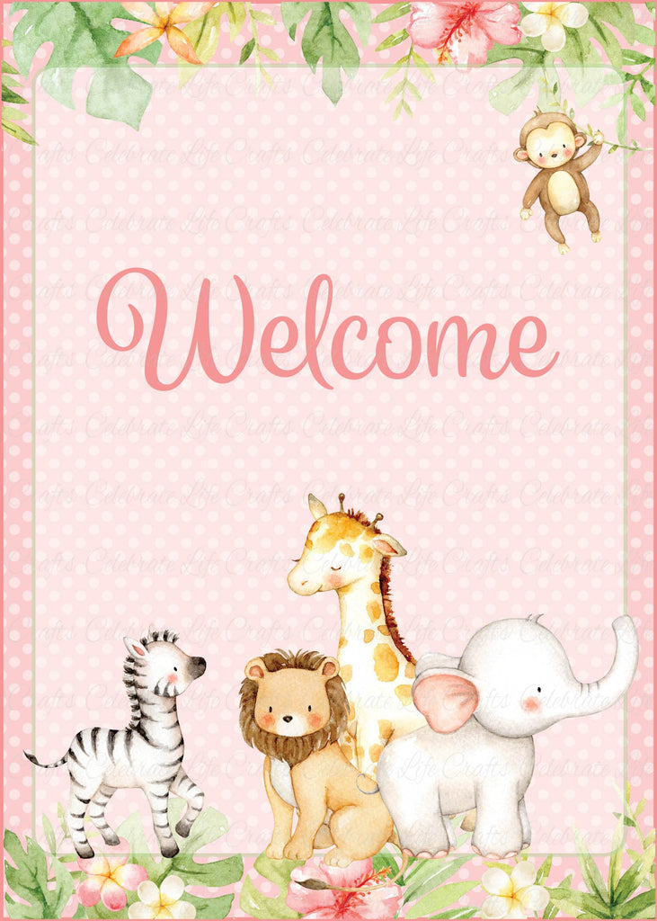 Pink Safari Baby Shower Welcome Sign
