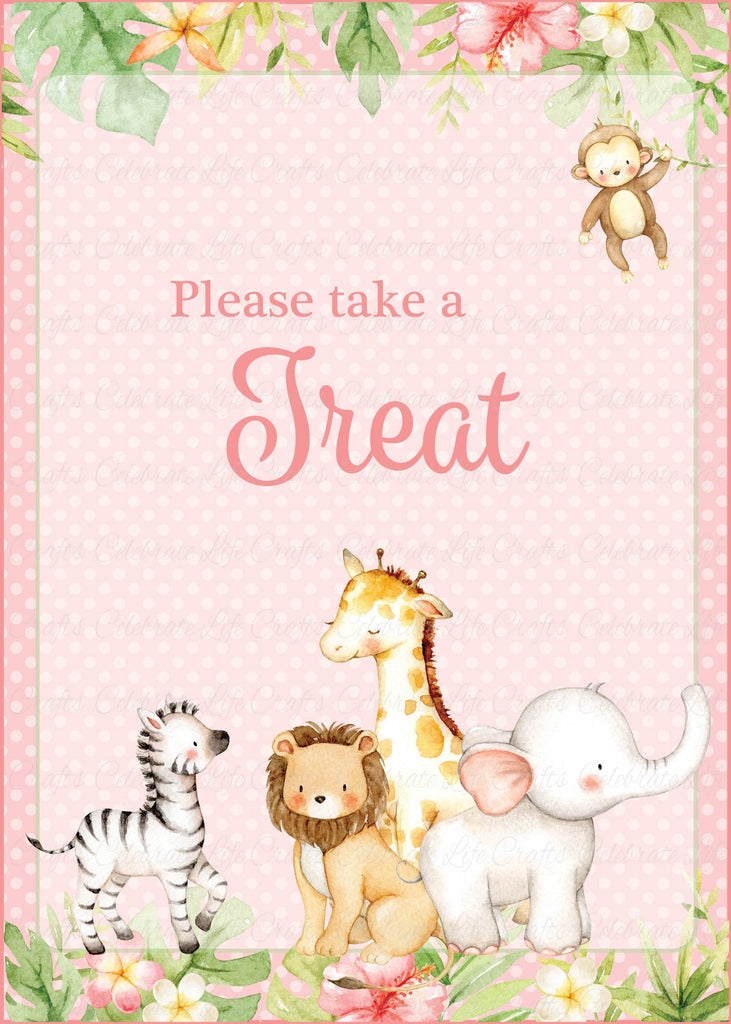 Pink Safari Baby Shower Treats Sign