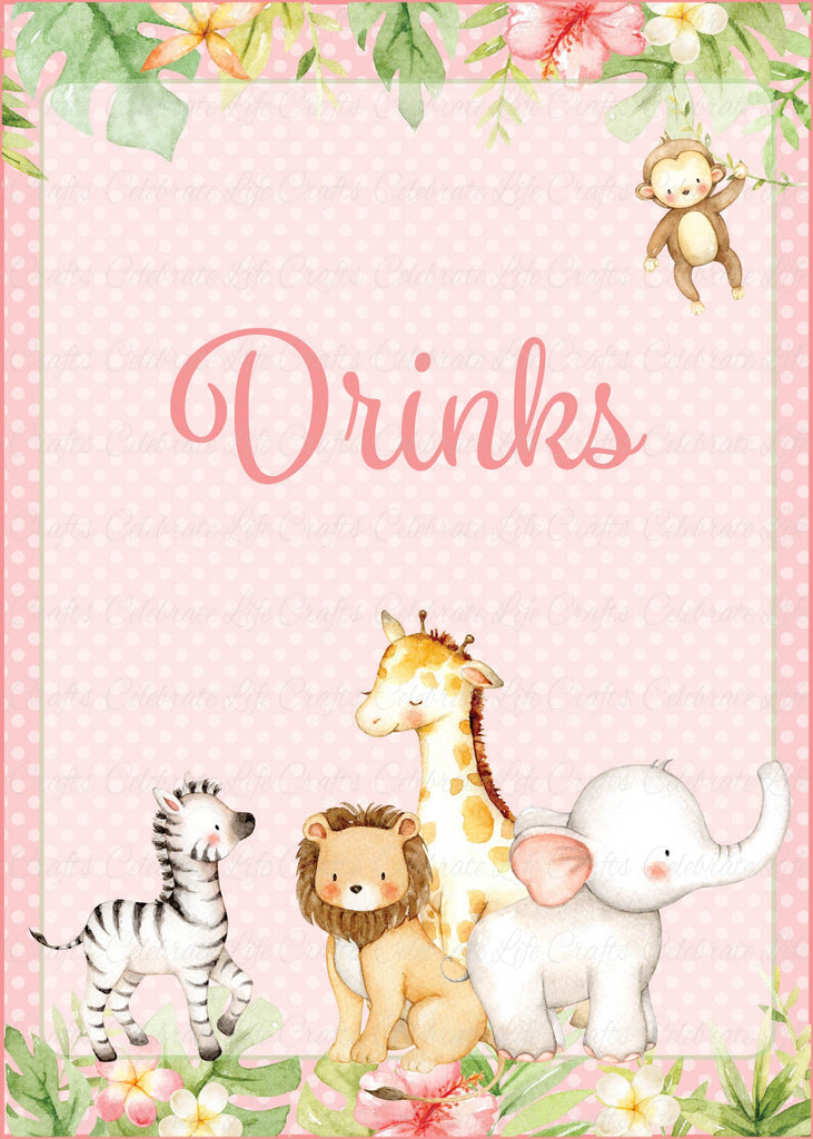 Pink Safari Baby Shower Drinks Sign