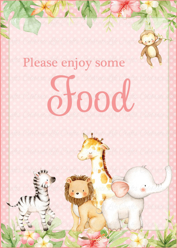 Pink Safari Baby Shower Food Sign