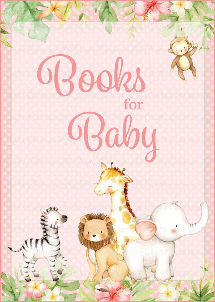 Pink Safari Baby Shower Books for Baby Sign
