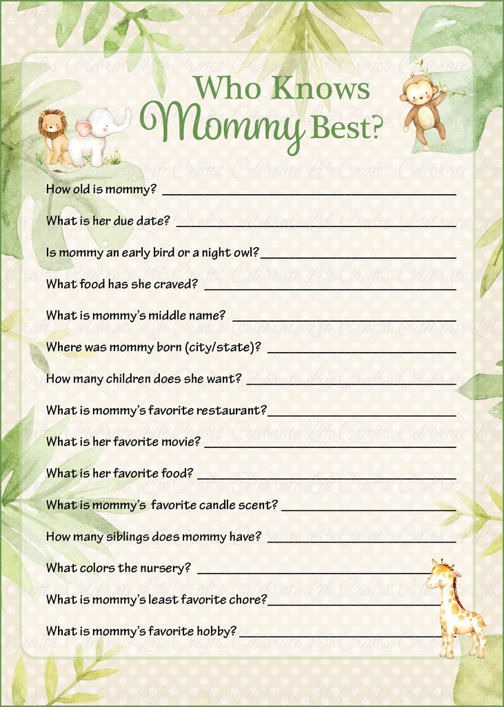 Safari Baby Shower Who Knows Mommy Best Game
