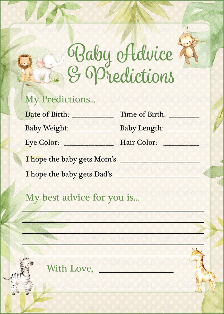 Safari Baby Shower Prediction and Advice Cards