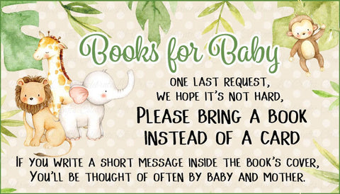 Safari Baby Shower Books for Baby Cards