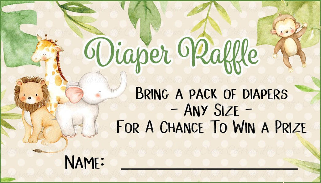 Safari Baby Shower Diaper Raffle Cards