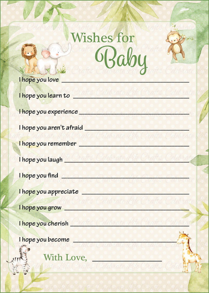 Safari Baby Shower Wishes for Baby