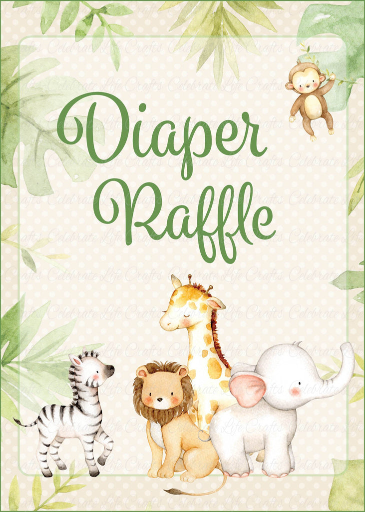 Safari Baby Shower Diaper Raffle Sign