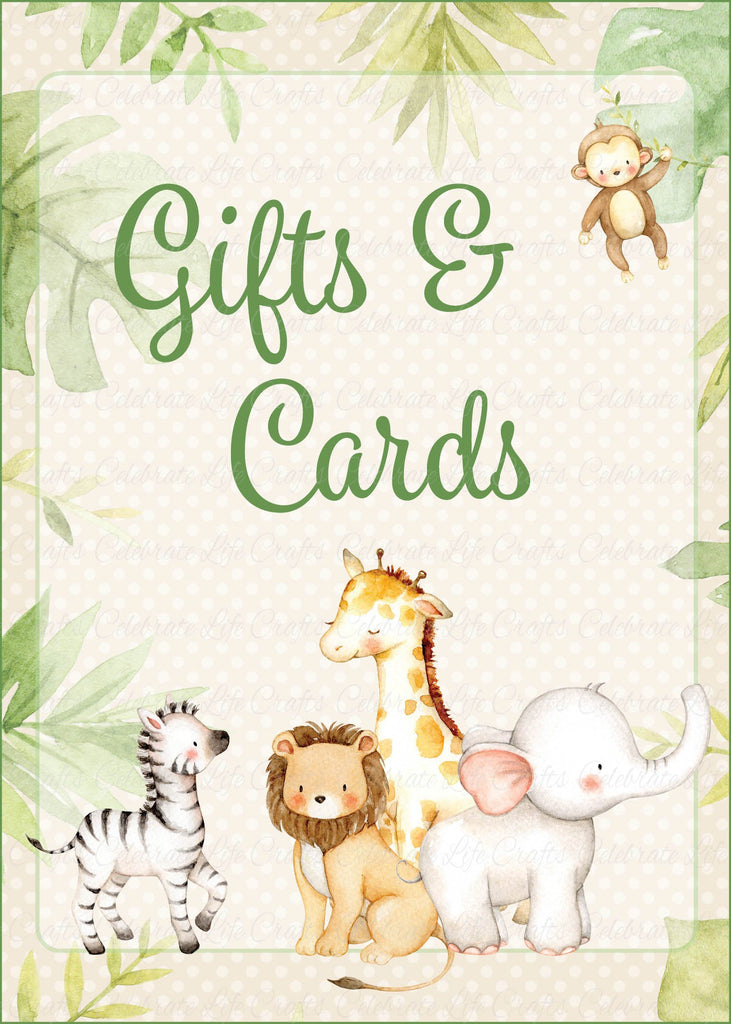 Safari Baby Shower Gifts & Cards Sign