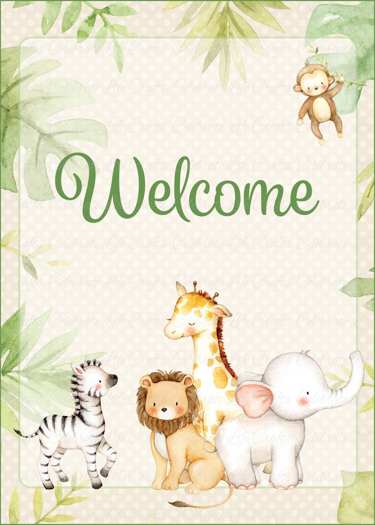 Safari Baby Shower Welcome Sign