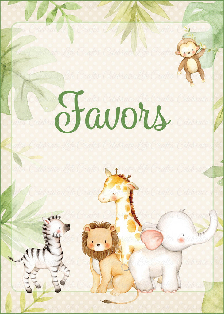 Safari Baby Shower Favors Sign