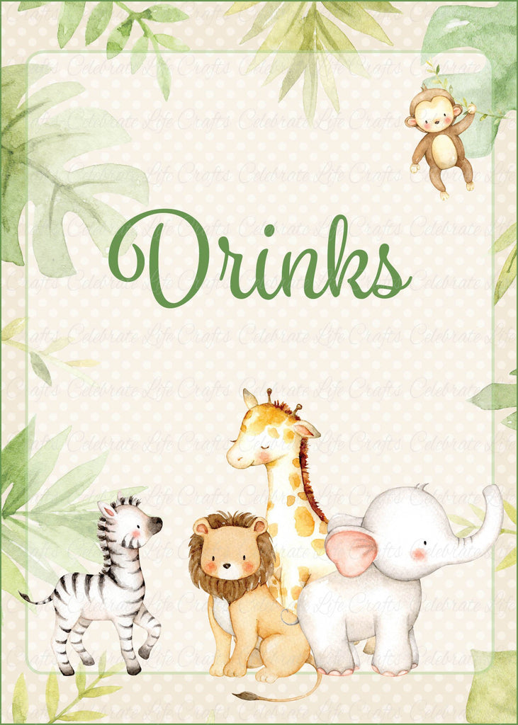 Safari Baby Shower Drinks Sign