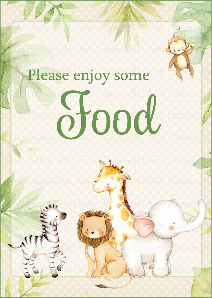 Safari Baby Shower Food Sign