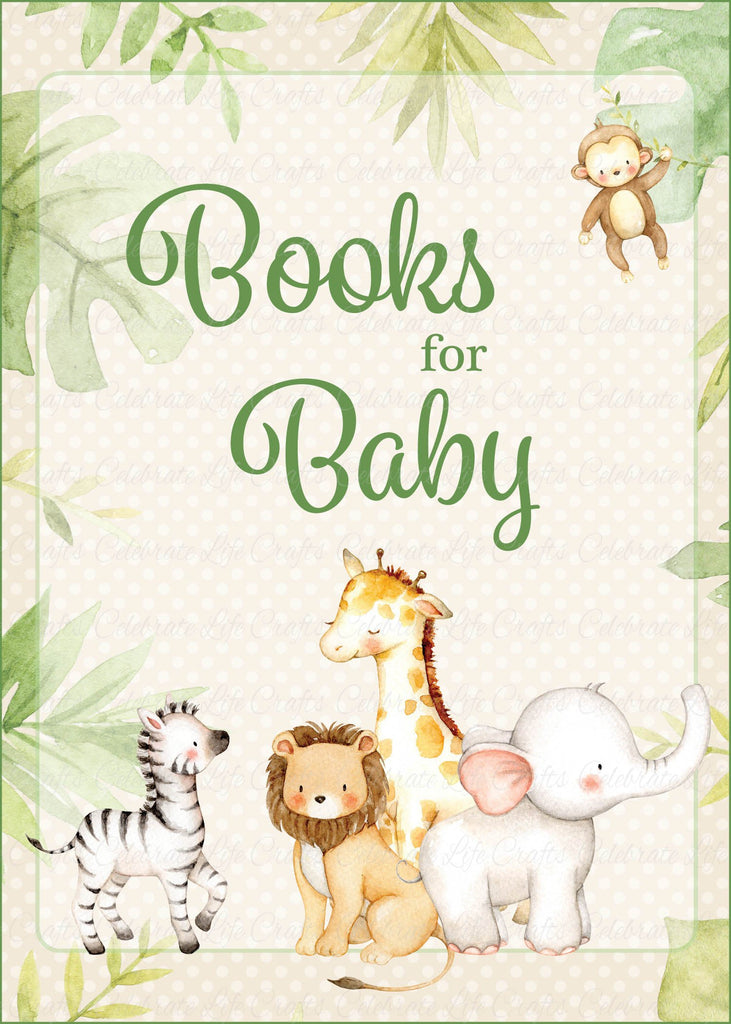 Safari Baby Shower Books for Baby Sign