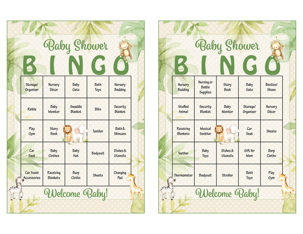 Safari Baby Shower Bingo Cards