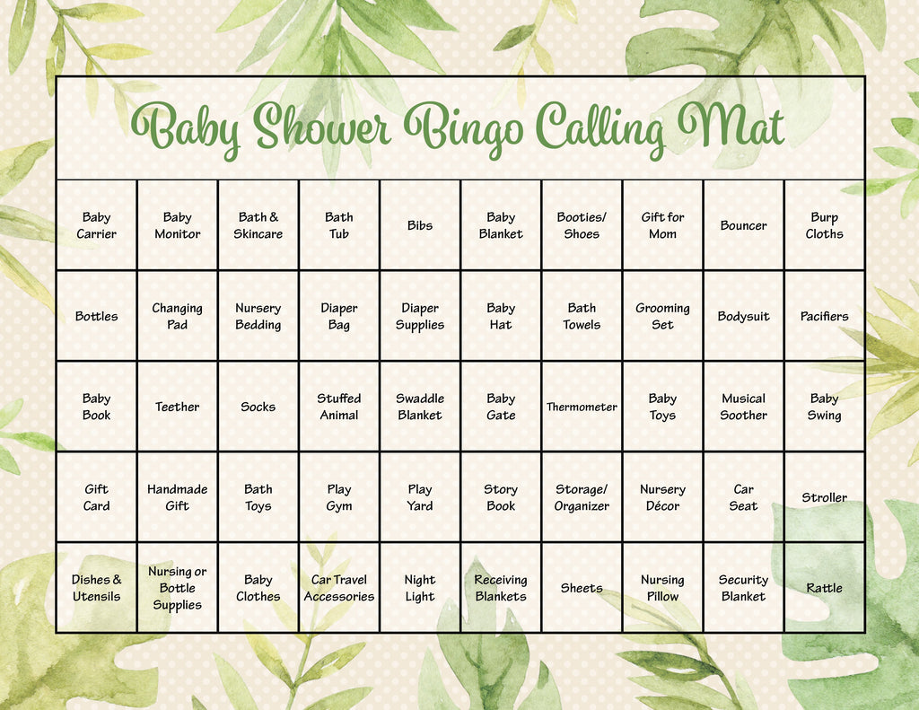 Safari Baby Shower Bingo Calling Mat