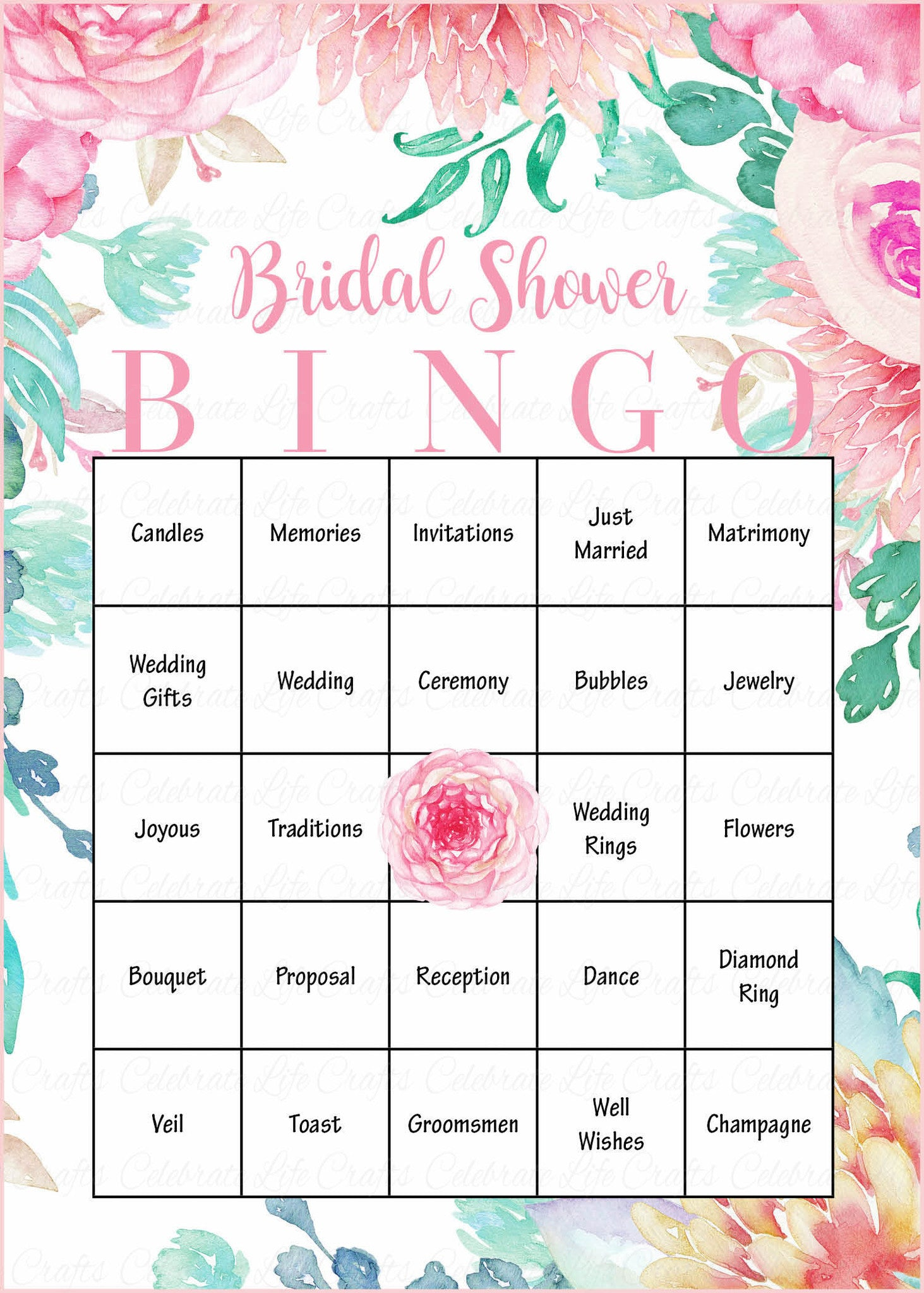 picture relating to Wedding Shower Cards Printable called Floral Bridal Bingo Playing cards - Printable Obtain - Prefilled